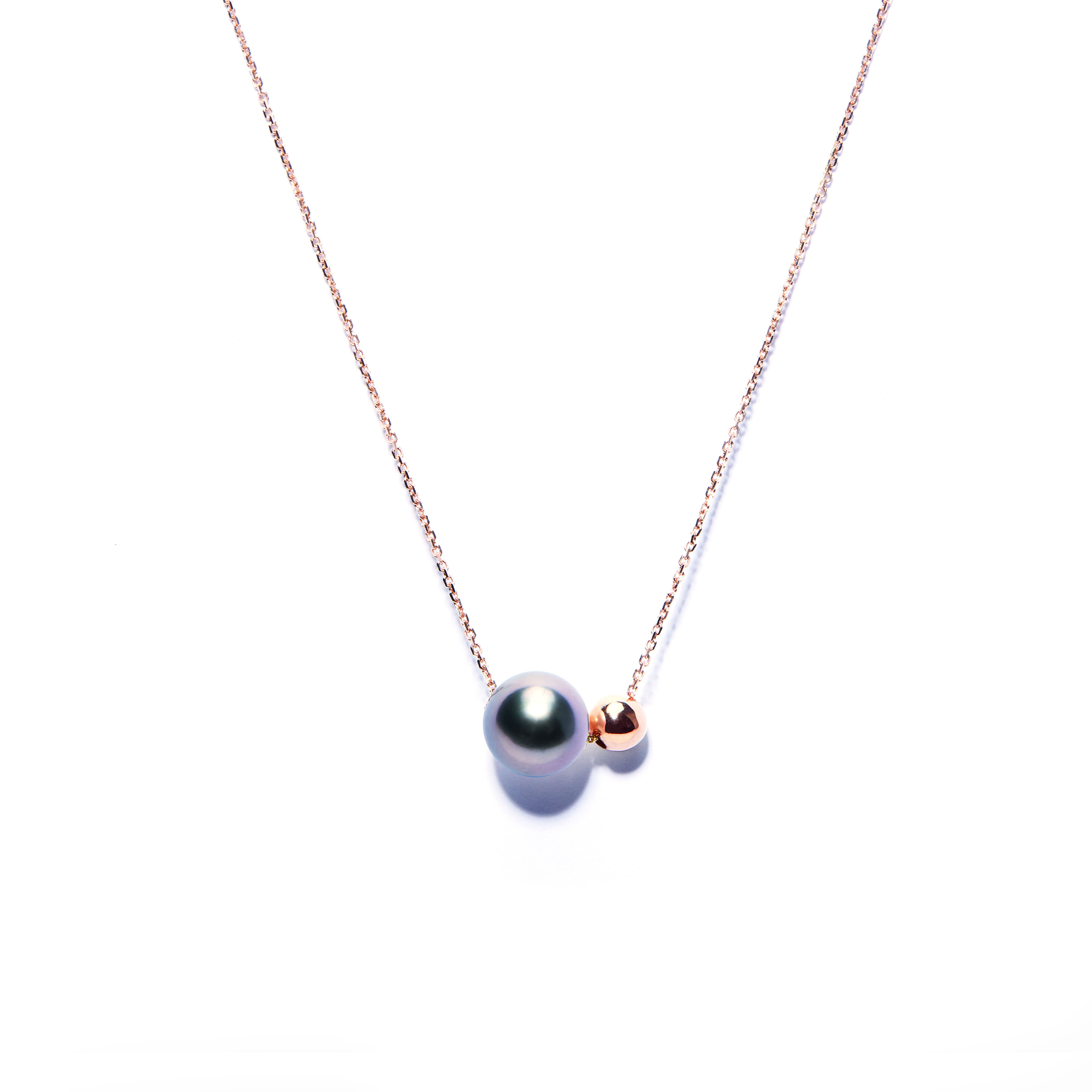 fa162907d744d Pearl And Ball Necklace Rose Gold