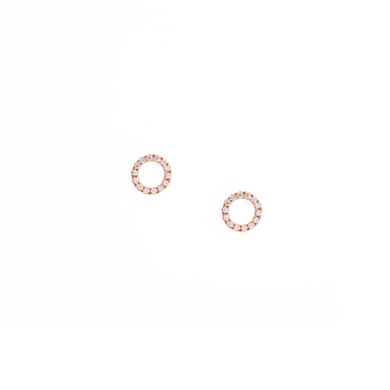 Basic Diamond: Basic Diamond Circle Earring Rose Gold